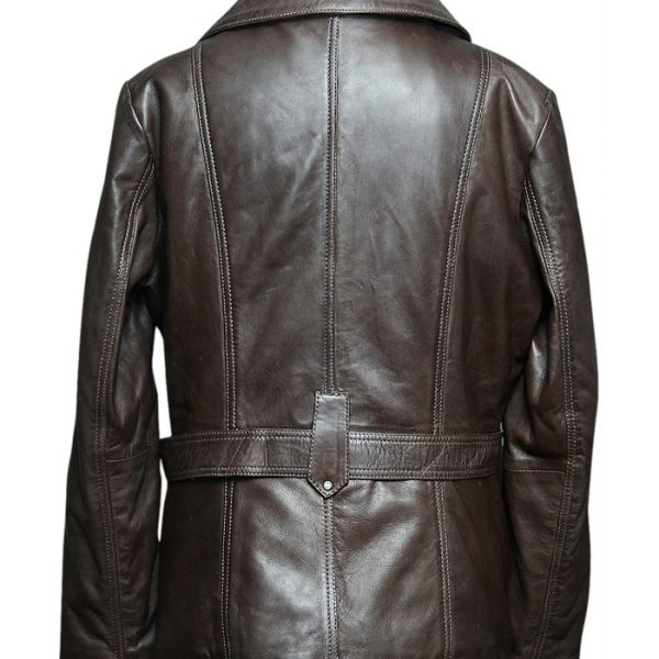 Women's Waxed Brown Sheep Leather Coat