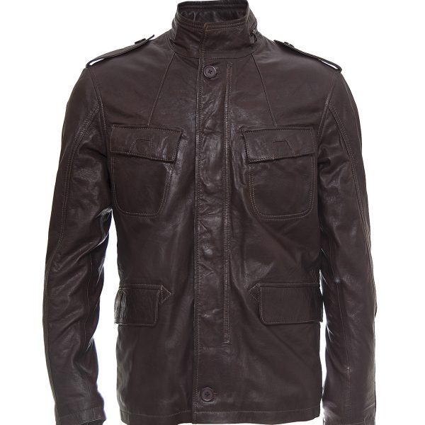 Men's Bubble Brown Sheep leather Classic jacket